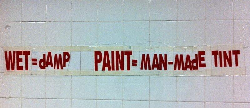 WET = Damp PAINT = Man-Made Tint
